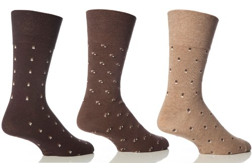 3 Paar Herren Sanfter Halt Waben Top Socken Nicht Elastisch by Drew Brady / Verschiedene Farbe Designs zum Auswählen / UK Größen 6-11 & 12-14 - Braun, Herren, UK 6-11 Eur 39-45