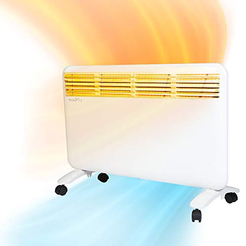 Koreyosh 1500W Indoor Electric Space Heater Full Room Convection Heater Quiet Panel Heater Room Wamer,Freestanding with Wheels/Wall Built-up,Adjustable LED Digital Thermostat