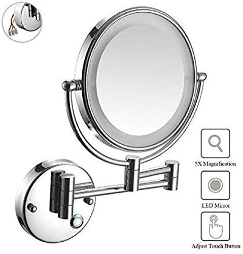 wscmd Vergrößerungsspiegel Leuchtende Wandhalterung x5 Touch-Taste LED-Spiegel Make-up Doppelseitiger Wandspiegel Spiegel Kosmetik Unterputz