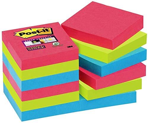 Pack de 12 blocs de notas adhesivas, 47.6 x 47.6 mm, multicolor (amapola/ verde neón/ zafiro)