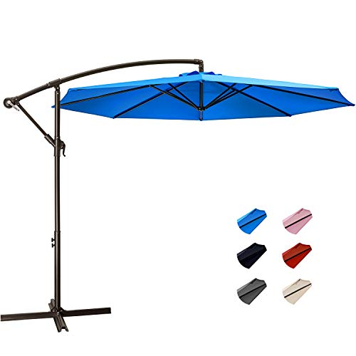 KITADIN Offset Umbrella - 10Ft Cantilever Patio Hanging Umbrella,Outdoor Market Umbrellas with Crank Lift & Cross Base (10 Ft, Lake Blue)