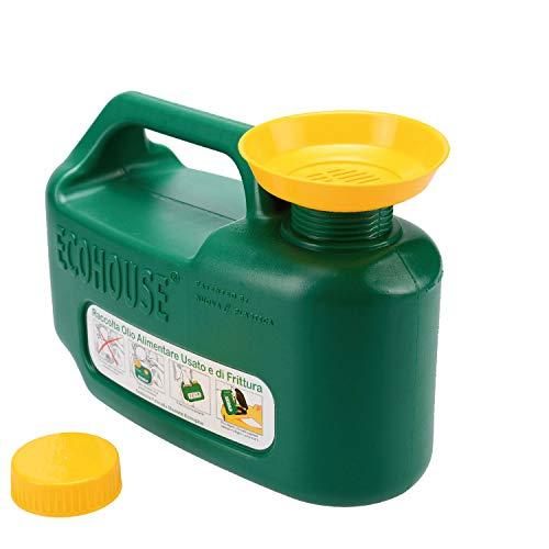 ECOHOUSE Light 5.5LT Tanica Verde per Il Recupero e contenimento dell'olio Alimentare Usato e di frittura per Raccolta differenziata con Tappo Sicurezza Bimbo,Imbuto e griglia filtraggio,plastica
