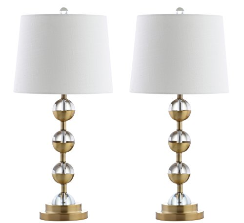 """JONATHAN Y JYL2049A-SET2 Avery 27.5"""" Crystal LED Table Lamp Contemporary,Transitional,Traditional for Bedroom, Living Room, Office, College Dorm, Coffee Table, Bookcase, Clear/BrassGold(Setof2)"""