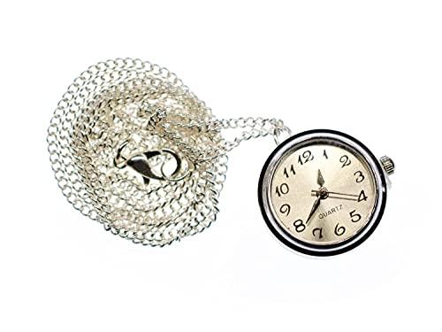 Miniblings pm Opera collar de cadena 45cm Snap boton Time reloj de pulsera - joyería hecha a mano - Cadena de eslabones de plata