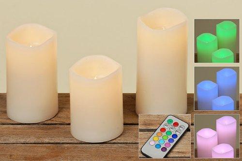 Bella-Vita Dapo LED Kerzen Echtwachs farbwechselnd im 3er-Set mit Fernbedienung LED-Kerze Wachskerze