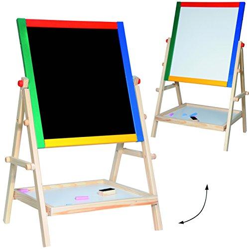 alles-meine.de GmbH 4 in 1: Standtafel - Schreibtafel / Maltafel / Staffelei - aus Holz - 68 cm - auch als Tischtafel - mit Blackboard & Whiteboard - doppelseitig - beidseitig be..
