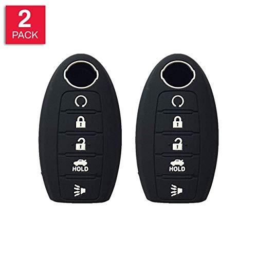 Autobase Silicone Key Fob Cover for 2019 2018 2017 Nissan Rogue Murano Armada Maxima Altima Sedan Pathfinder | Car Accessory | Key Protection Case 2 Pcs (Black)