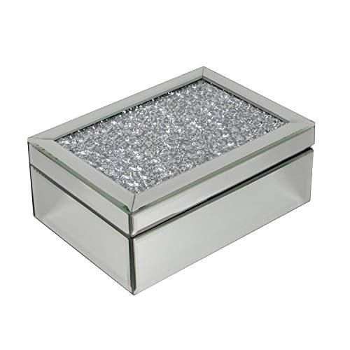 HomeZone Luxus Silber Gebrochenem Strass Diamant Gespiegelt Glas Schmuck Kästchen mit Schwarzer Samten Intarsie Dekorativ Elegant Schmuck Andenken Kiste Schmuck Stoffvorratsbütte