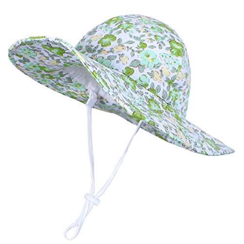Durio Mädchen Sonnenhut Verstellbarer Hut mit breiter Krempe Sonnenschutz UPF 50 Sommer Kinderhut Baby Jungen Säugling Kleinkind Grün 4-8 Jahre