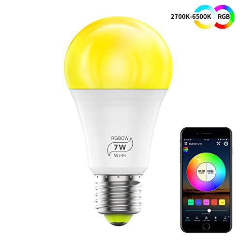 HaoDeng WLAN Smart LED 7 W lamp WIFI verlichting, dimbaar compatibel met Alexa, Iftt, Google Home en Siri, Sunset & Zonsopgang, wekker, 16 miljoen kleuren, E27 lampen
