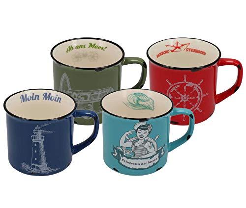 Tony Brown Maritime Porzellan Kaffeebecher mit Sprüchen   Motive von Nordsee und Ostsee in Emaille-Optik (500 ml 4er Set, Mehrfarbig)