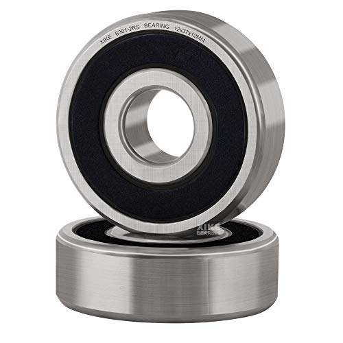 XiKe 2 Pcs 6301-2RS Double Rubber Seal Bearings 12x37x12mm, Pre-Lubricated and Stable Performance and Cost Effective, Deep Groove Ball Bearings.