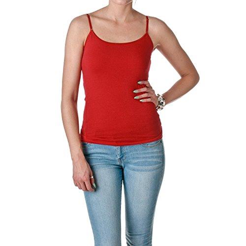 ACTIVE BASIC Women's Shelf Bra Adjustable Spaghetti Strap Tank, True Red, Small