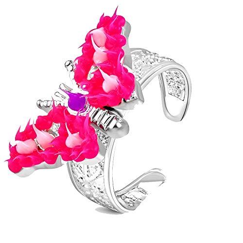 Anillo de pie plateado de acero inoxidable – mariposa rosa
