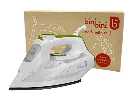 Binibini The Green Steam Iron - Plancha de vapor sostenible y justa (planchado más rápido con menos consumo de energía y agua, 2200 W, vapor de 27 g/min, depósito de 400 ml, apagado automático)