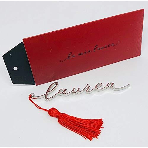 Segnalibro scritta LAUREA con nappina rossa BOMBONIERA