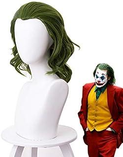 2019 Joker Origin Movie Clown Joker Wig Cosplay disfraz Joaquin Phoenix Arthur Fleck verde rizado pelo sintético resistente al calor
