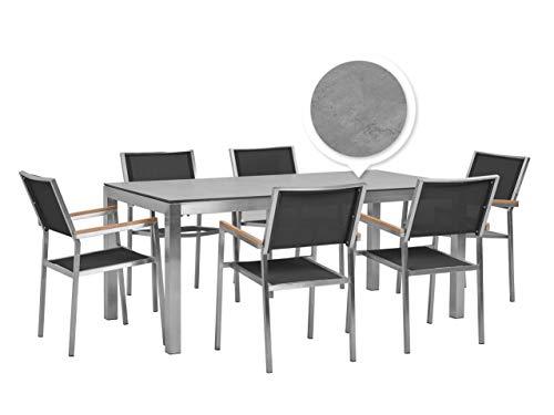 Beliani 6 plazas jardín comedor conjunto chapa de hormigón HPL Top Blach textiles sillas Grosseto