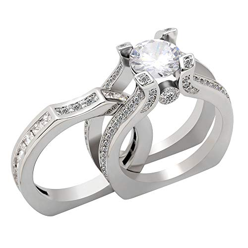 UFOORO Crystal Ring Wedding Rings Sets for Women Crystal Jewelry Girlfriend Gift Size 7