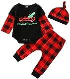 Neugeborene Baby Boy Girl Weihnachtsoutfits Langarm gestreifte Strampler Bodysuit Hosen Hut 3Pcs Herbst Winter Kleidung Set (Black,6-9 Monate)