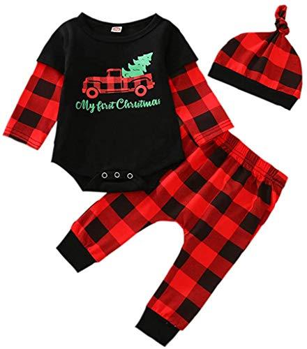 Bebé recién Nacido niño niña Trajes de Navidad de Manga Larga a Rayas Mono Mono Pantalones Sombrero 3 Piezas Conjunto de Ropa de otoño Invierno (Black,9-12 Meses)