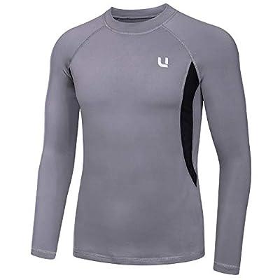 UNIQUEBELLA Men's Thermal Underwear Tops Long Johns Fleece Sweat Quick Drying (Grey Tops, M)