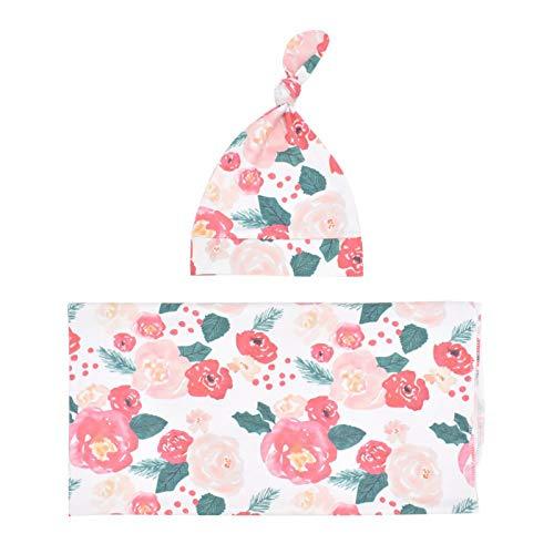 puseky Conjunto de gorro para bebé recién nacido de algodón con manta de recepción con sombrero para bebé niños y niñas