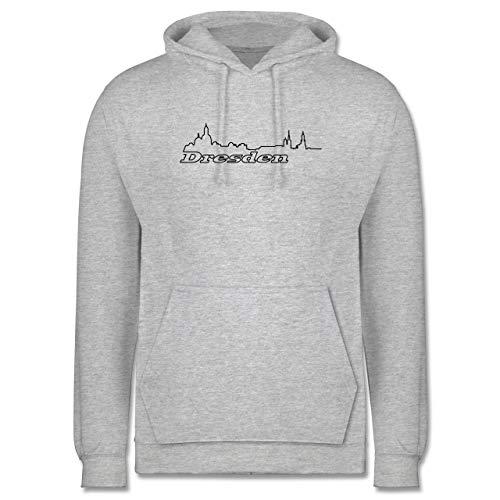 Shirtracer Skyline - Dresden Skyline - XS - Grau meliert - Geschenk - JH001 - Herren Hoodie und Kapuzenpullover für Männer