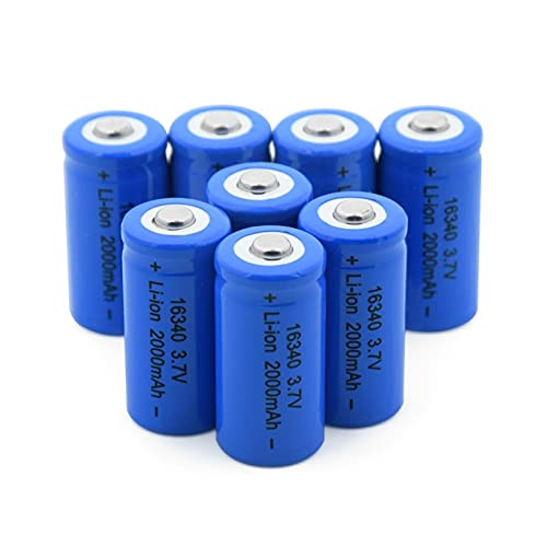 josiedf BateríAs Li-Ion De Litio De 3.7v 2000mah 16340, Batería Recargable para La Impresora PortáTil De La Linterna 8pcs