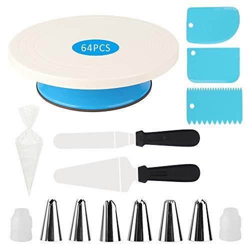 SIKKINGK 64 PCS Tortendekoration Set, Tortenplatte Drehteller, Backzubehör für Torten, 50 Einweg Spritzbeutel, Kuchen dekorieren Tisch, ideal für Profi Backen Gebäck und Anfänger