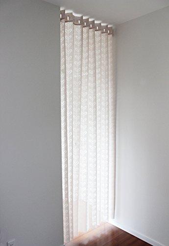 日本製 北欧 リーフ柄 ロング丈 アコーディオンカーテン 150cm巾×250cm丈 ベージュ
