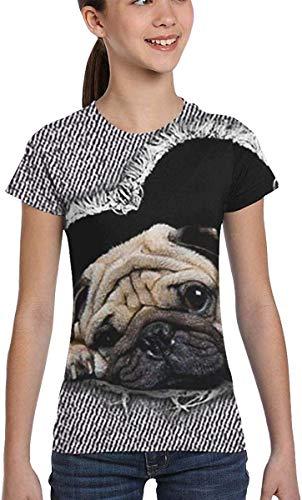 Redsheep Mädchen-Bluse, kurzärmelig, niedliches Mops-Design, lässige Bluse, Kleidung, XS-XL Gr. Small, Farbe1