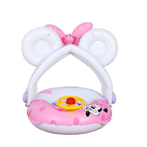 WANQ Aufblasbarer Kindersonnenschirm Schwimmring für Kleinkinder Mit lenkrad Faltbar Baby Rettungsring,White