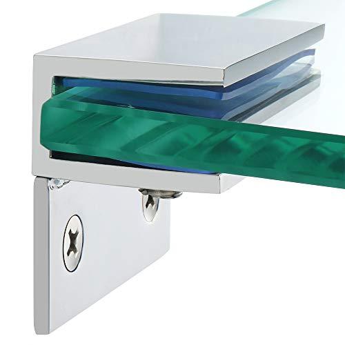 Alise 2 Pcs Adjustable Frameless Rectangle Glass Shelf Bracket Holder with Leg Heavy Duty Clamp Shelf Clip,SUS 304 Stainless Steel Polished Chrome BL1000-2P