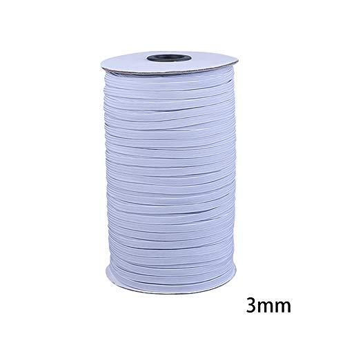 DeeCozy 3 mm weißes elastisches flaches Band, elastisches Seil, elastische Bänder, glattes Nähgarn zum Stricken für die Herstellung von Maskenärmeln