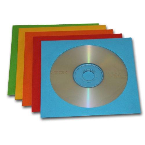 10 disques CD-R vierges et 10 boîtiers colorés