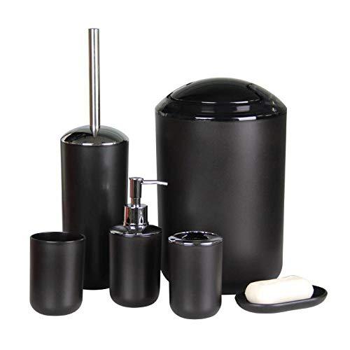 IMAVO Bathroom Accessories Set,6 Pcs Plastic Gift Set Toothbrush Holder,Toothbrush Cup,Soap Dispenser,Soap Dish,Toilet Brush Holder,Trash Can,Tumbler Straw Set Bathroom (Black)
