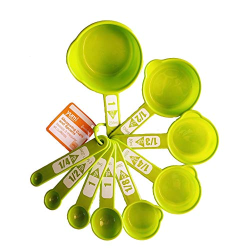 Bradshaw 9 Pc. Measuring Cups & Spoons Set All On One Ring Dishwasher Safe Green (Green)