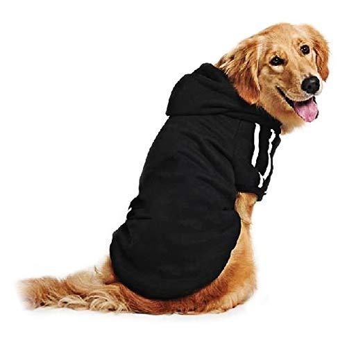 DULEE Hund Warme Hoodies Mantel Jumpsuit Haustier Kleidung Jacke Pullover Baumwolle Pullover Outwear Schwarz 9XL