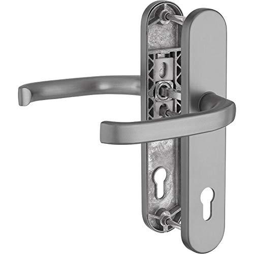 WeRo Schutzbeschlag für Haustüren Drücker/Drücker und Hochhaltefeder ALU- Edelstahlfarben F9
