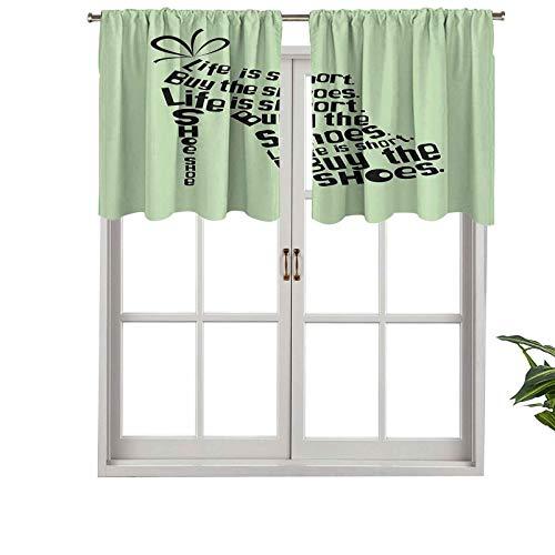 Hiiiman Cenefa de diseño de moda con aislamiento térmico paneles de ventana para mujer, zapatos hechos de citas Life is Short, juego de 1, 132 x 45 cm para habitación de niños