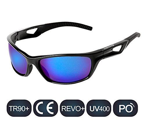 Polarized Sports Sunglasses for Women Men Sport Fashion Glasses for Cycling (Black/Blue)