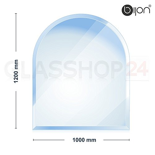 bijon® - 6mm Kamin Glasbodenplatte - Rundbogen 1000 x 1200mm - 18mm Facette