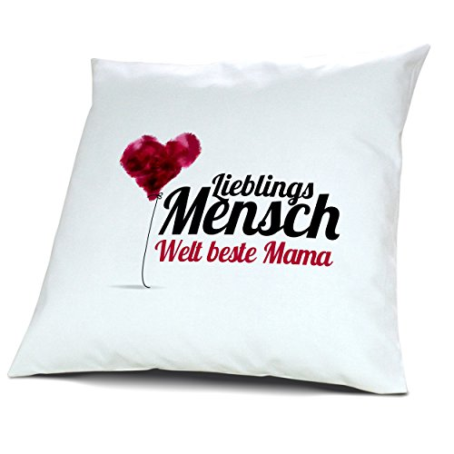 """Kopfkissen mit Namen Welt beste Mama - Motiv """"Lieblingsmensch"""", 40 cm, 100% Baumwolle, Kuschelkissen, Liebeskissen, Namenskissen, Geschenkidee"""