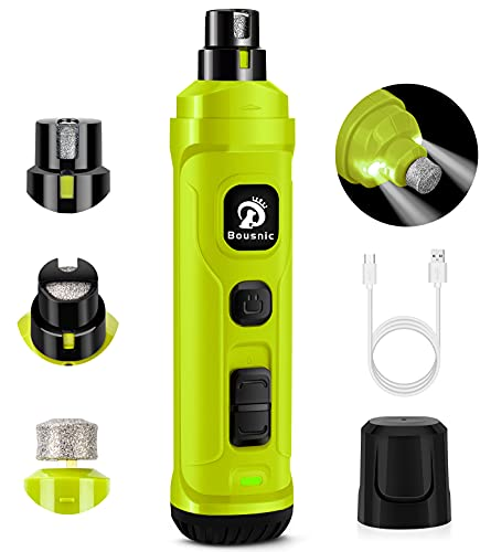 BOUSNIC Dog Nail Grinder with 2 LED Light - Super Quiet Pet Nail Grinder Powerful 2-Speed Electric Dog Nail Trimmer File Toenail Grinder for Puppy Small Medium Large Breed Dogs & Cats (Green)