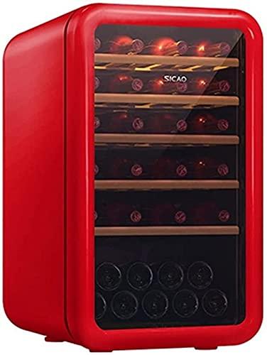FREEZYMAN 35-Bottle Wine Cooler, Home Independent Wine Cellar, Digital Display Constant Temperature Wine Cooler, Retro Refrigerator, Beverage Ice Bar (Color : Red, Size : 48.56482.7cm)
