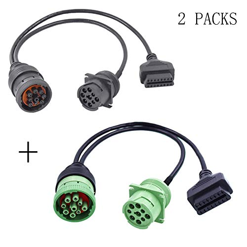 Arteckin OBD2 ii Adapter Freightliner Truck Y Cable OBD2 16pin Female to J1708 6pin and Type 2 Green J1939 9pin Cable