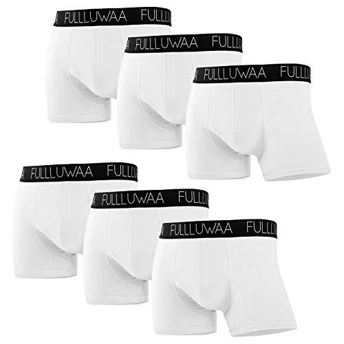 Fullluwaa Boxershorts Herren 6er Pack Retroshorts Trunks Men Unterwäsche Unterhosen Männer Baumwolle S,M,L,XL,2XL,3XL(L,Weiß)