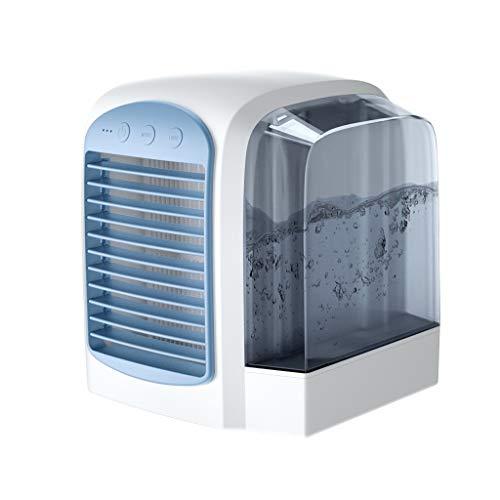 FHDF Mini ventilador de escritorio, humidificador de aire refrigerador, ventilador portátil de torre silencioso, 3 velocidades, para escritorio, oficina, escuela, dormitorio (7 W, 17 cm) (color: rosa)