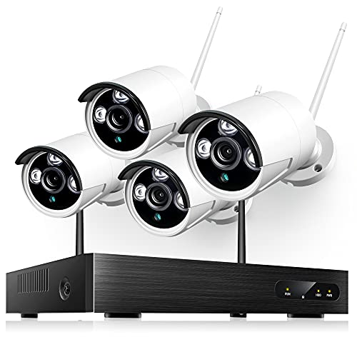 Heim Vision Wireless Security Camera Outdoor, 1080P 8CH NVR 4Pcs Home WiFi Security Camera System with Night Vision, Waterproof, Motion Alert, One-Way Audio, Remote Access, No Hard Disk (HM241)
